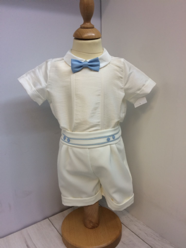 Ivory and Blue Christening Shorts and Shirt Set.